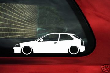 Honda Civic Ek Type R, VTi, VTEC silhouette car Sticker,Decal.